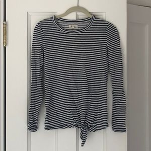 Madewell blue and white striped long sleeve xxs